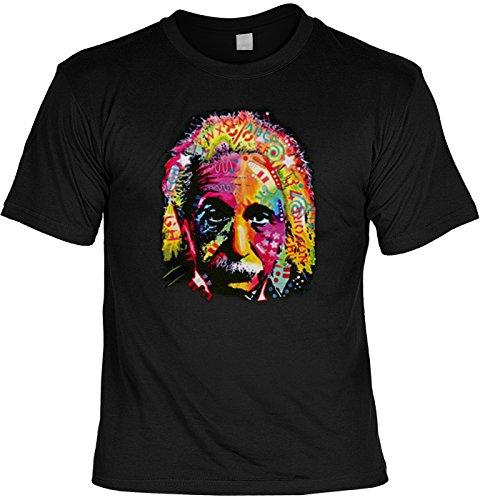 T-Shirt mit coolem bunten Motiv: Albert Einstein - Geschenkidee - Geburtstag - schwarz Schwarz