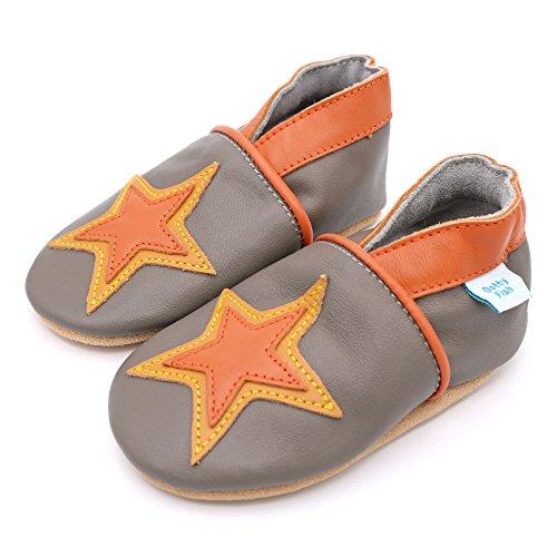 Estrela Couro Jovem Cinza Bebê Menina Suave E Estrela Criança Laranja De Calçados 8PITPq
