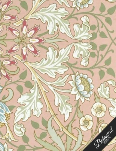 Botanical Notebook Collection: Vintage Background, Floral Journal/Diary, Wide Ruled, 100 Pages, 8.5 x 11