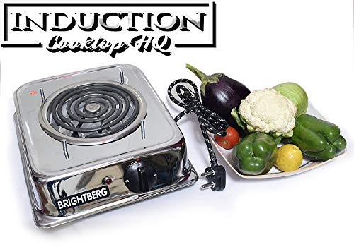BrightBerg Electric Portable Coil Stove Induction Cooktop with 1 Year Warranty 1200W (G-Coil) 3 Level Adjustable Level (Silver)
