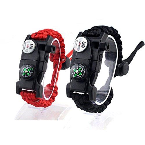 Paracord Survival Armband, Verstellbare Schnalle Wasserdicht Mit Pfeife, Feuer Starter, Kompass, SOS LED Light, Für Expedition Camping Erste Hilfe (2 Stück),Multi-Colored