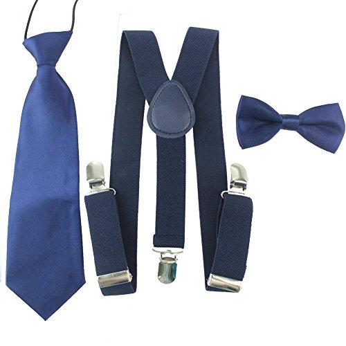 HABI unisex mehrfarbig elastisch Hosenträger Y-Form Länge für Kinder Mädchen und Jungen mit den starken Clips Playshoes Fliege und Krawatte KIT in verschiedenem Design (1)