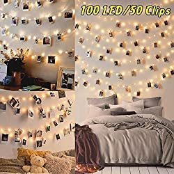 Guirlande Lumineuse Photo - 10M 100LED Guirlande Porte Photo Mural Guirlande Pince Lumineuse Interieur Chambre Accroche Photo Clip