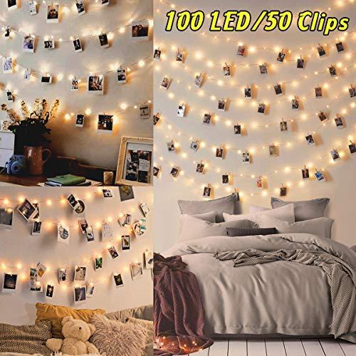 100LED Luci Led per Foto Polaroid 10M Lucine Led Decorative per Camere Porta Foto Luci con Mollette Led per Foto Luci Decorative Interno