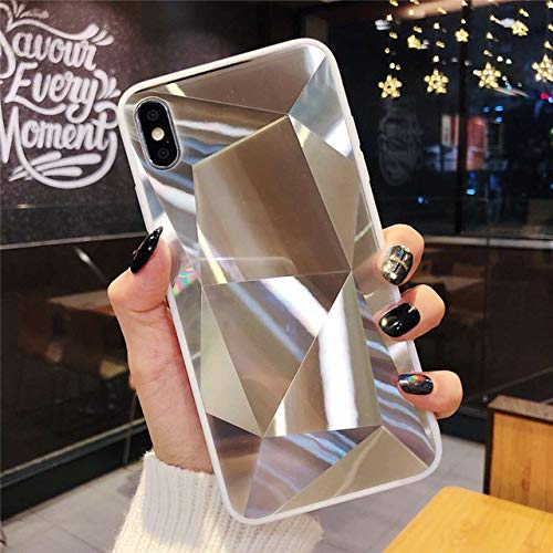 SHFIVES Bright Diamond Case für iPhone 7 Hülle 3D Hard Cover für iPhone XS Max XR X 6 6S 8 Plus 7 Plus Hülle iPhone 8 Hülle, Silber, für iPhone 6Plus