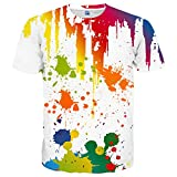EOWJEED Unisex Lustiges Casual 3D Muster Gedruckt Kurzarm T-Shirts Top Tees - S