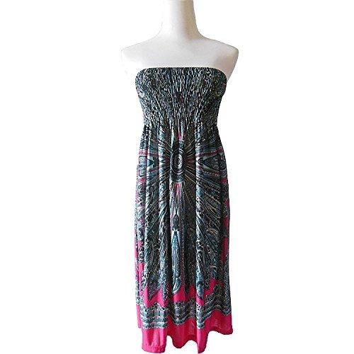 Kleider Damen Bandeaukleider Ärmellos Rückenfrei Schulterfrei High Waist Retro Drucken Swing Sommer Midi Kleid Rosa