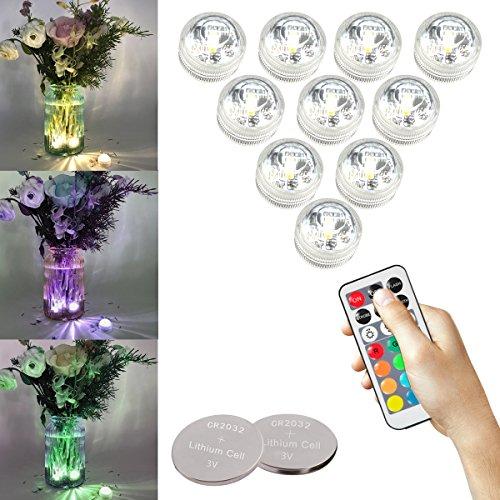 COOLWEST RGB Teelichter Kerzen Stimmungslichter LED Kerzen Lichter mit Fernbedienung, Vaselampe Wasserdicht IP68 für Aquarium, Weihnachten, Badewanne, Inkl. 40 Stück Knopfzelle