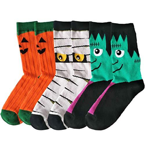 3 Paare Halloween-Socken Arbeiten Nette atmungsaktive Baumwollsocken-Mannschafts-Socken für Männer um Christmas - Paare Nette Kostüm
