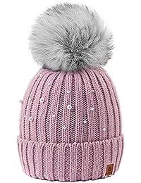 4sold Beanie Hat Mujer Sombreros con Bola Pequeña Lana De Invierno para  Mujer Gorro de Punto con Gran Pom Pom Cap Ski Snowboard… 7f584b4344d