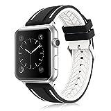 LEEHUR- Apple Watch Armband 42mm, Serie 1/2/3 Sport Armbanduhr Silikonarmband Ersatzarmband Armband für Apple iWatch / Apple Uhr Nike + (42mm, Weiß&Schwarz)
