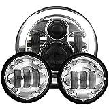 1x LED Phare Avant 7 Pouces CREE+ 2x LED Feux de Antibrouillard 4.5 Pouces pour Moto Harley Davidson (Argent)