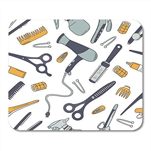 Luancrop Mausunterlage-Blaue Friseur-Werkzeug-Gekritzel-Bunte Sammlung des Friseurbedarfs Mousepad für Notizbücher, Tischrechner-Mausunterlagen, Bürozubehöre