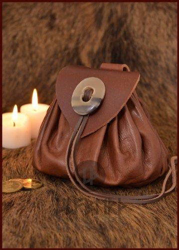 Geldbeutel mit Hornknopf, rotbraun Lederbeutel, groß Ledertasche – Wikinger – LARP – Mittelalter - 2