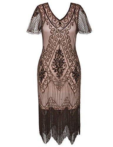 PrettyGuide Damen 1920er Charleston Kleid Pailetten Cocktail Flapper Kleid Mit Ärmel XL Braun Beige