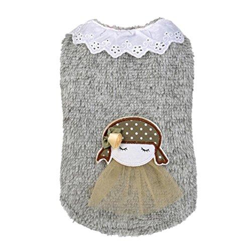 dung, Hmeng Niedlich Kapuzenpullis Kleines Mädchen Patchwork Haustier Welpen Pullover Verdickung Kapuzenpullover (M, Grau) (Süße Leichte Mädchen Halloween-kostüme)