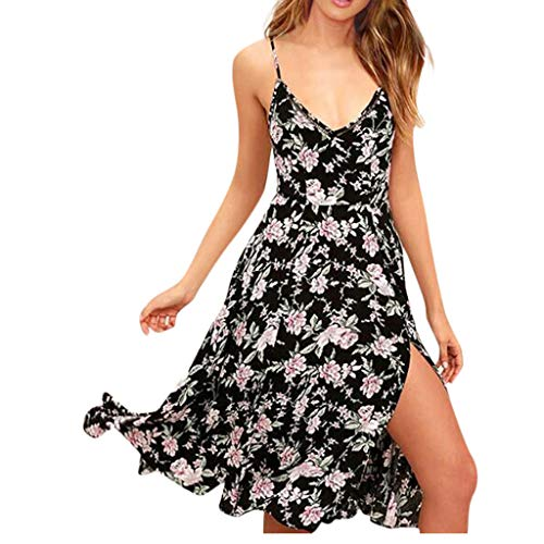 CANDLLY Kleider Damen, Sommer Beiläufig Süßer V-Ausschnitt ärmellose Kleids Strandkleid Böhmen Mode Druck Petticoat Schlinge Kleid ()