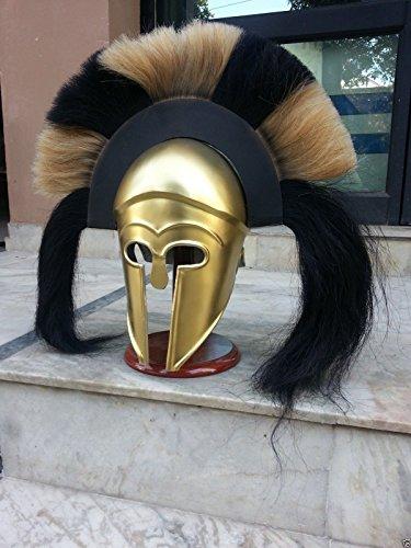 Die klassische Griechische Korinthischer Helm mit lang schwarz und weiß Plume