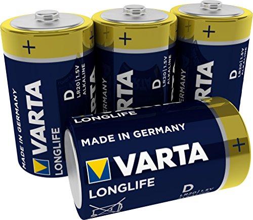 VARTA Longlife Batterie D Mono LR20 Batterie, Alkaline Batterien, ideal für Fernbedienung Radio Wecker und Uhr, 4er Pack