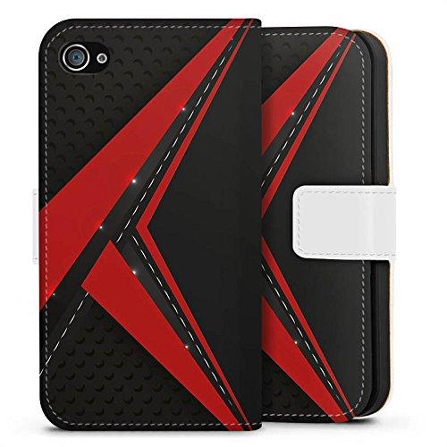 DeinDesign Tasche kompatibel mit Apple iPhone 4s Leder Flip Case Ledertasche Carbon Edel Mann (Iphone 4s Wallet Case Für Männer)
