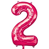 Amscan  Zahl 2 Pink Foil Balloon 22x33
