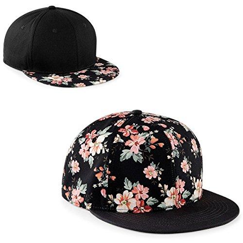 Preisvergleich Produktbild 2 x Damen Floral Cap Set Blumen Blumenmuster rosa pink Snapback Mütze Trend Hut
