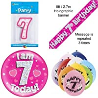 7th Birthday Party Set Age 7 Girls (Banner Balloons, Candle, Badge)