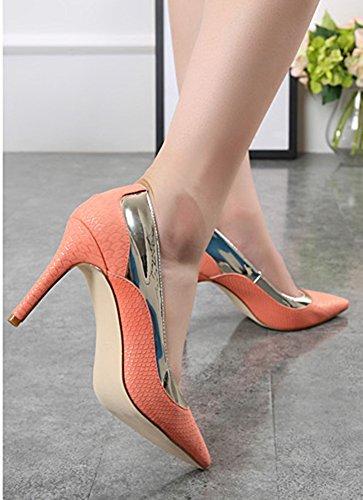 Aisun Femme Brillant Peau de Serpent Métallique Escarpins Orange
