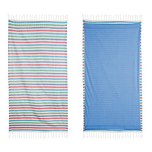 ExtraMaritim Maritimes Badelaken/Strandtuch und Handtuch Bunte Streifen 180 x 90 cm (Streifen-badelaken)