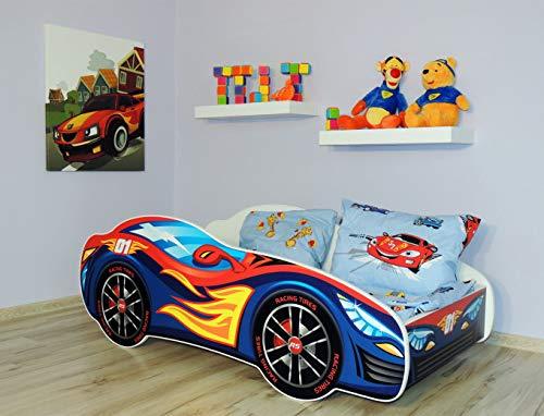Alcube   Kinderbett Auto-Bett Burning Flames   160 x 80 cm   mit Rausfallschutz, Lattenrost und Matratze   MDF beschichtet