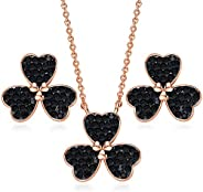 CDE Red Three Leaf Clover Jewelry Sets for Women Girls Lucky Shamrock Pendant Necklace and Stud Earrings Embel