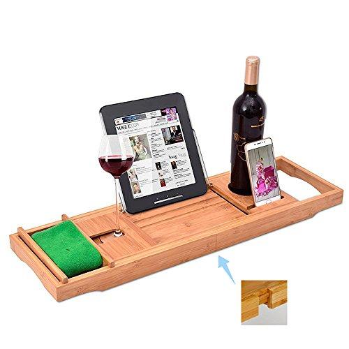 Kaxima Ausziehbare Badewanne Tray, Badewanne Rack Bambus Badewanne Rack Badewanne Tablett, Storage Rack Multi-Funktions