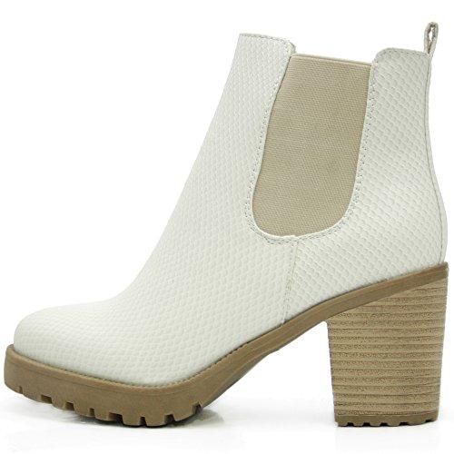 FLY 4 Chelsea Boots Plateau Stiefeletten in vielen Farben und Mustern (39, Beige Schlange)