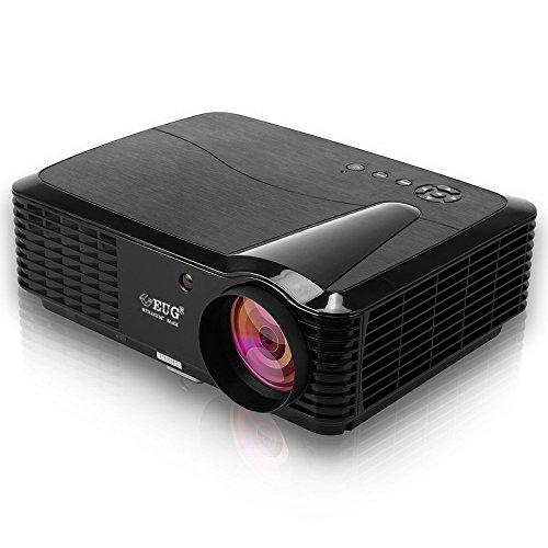 EUG HD Beamer 3400 Lumen LED 4000: 1 Kontrast 720p 1080p HD Bilder 100% Neu und Hochewertig mit TV HDMI VGA USB AV Anschlüsse Ideal für Heimkino Einbauen Kino zu Hause Filme Fernsehprogramm Max 150 Zoll Bild.