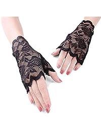 28dd94bc2c9631 MINGZE Spitzen Handschuhe, Frauen Blumenmuster Spitze fingerlose Handschuhe,  halb Finger Brauthandschuhe UV Schutz fingerlose…