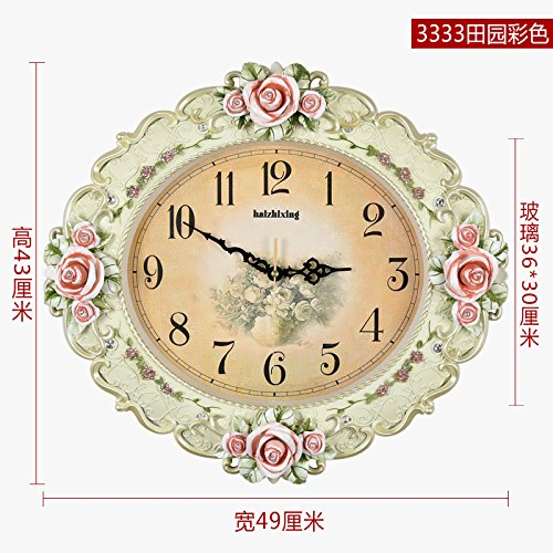 OLILEIO UN GRAND JARDIN Salon Style Retro Horloge murale Horloge Horloge Horloge Quartz américain merveilleusement simple atmosphère créative,20 pouces (50,5 cm de diamètre),3333 Color