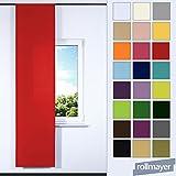 Rollmayer Schiebevorhang mit Paneelwagen Kollektion Vivid 60 x 245 cm (Weiß 1, Klettband + Paneelwagen) Blickdicht Uni einfarbig Flächenvorhang Schiebepanel Schiebegardine