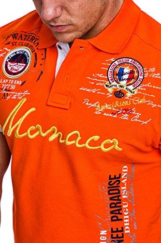 Amaci&Sons Herren Monaco Stickerei Poloshirt Slim Fit Hemd Kurzarm Shirt 5003 Orange