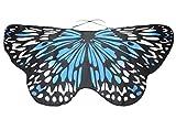 Overdose Damen Faschingskostüme Kinder Mädchen Jungen Butterfly Wing Cape Schmetterling Flügel Kostüm Schmetterlingsflügel Erwachsene Karneval Kostüm Kimono Schal Cape Tuch (118*48CM, A-Sky Blue)