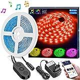5m LED Streifen Lichter LED Band Synchronisierung zur Musik durch APP Kontrolle, Minger Wasserdichtes flexibles 5050 RGB, 12V Streifen Beleuchtung für Schlafzimmer und Feiertagsparty