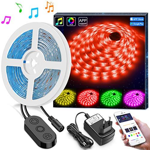5m LED Streifen Lichter LED Band Synchronisierung zur Musik durch APP Kontrolle, Minger Wasserdichtes flexibles 5050 RGB, 12V Streifen Beleuchtung für Schlafzimmer und ()