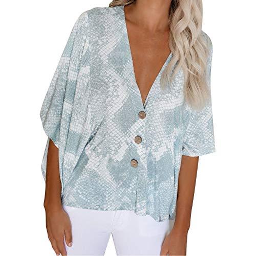 Clacce Oversize Oberteil T-Shirt Top Bluse Tunika Tops Damen Sommer Kurzarm Blusen T-Shirt V-Ausschnitte Loose Oversize Shirt Oberteile