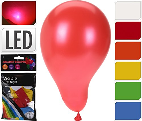 6er LED Luftballon SET, 6 Stück leuchtende LED Ballons je 1 in den Farben, weiss, rot, orange, gelb, blau, grün -