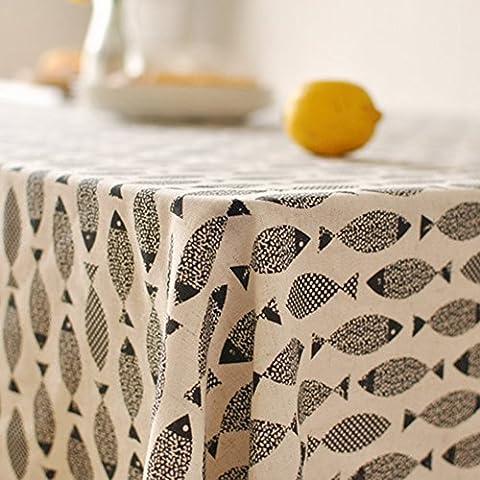 Style simple, coton nappes, Naturel Poisson Imprimé pour salle à manger de cuisine Living Housse de table Déco, Coton, noir, 39.3x55In
