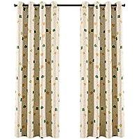2x Cortinas Opacas Estampadas para Ventanas de Habitación Dormitorios Salón, 140x240cm, 210g/m² 1,75kg (Cuadrículas Verdes)