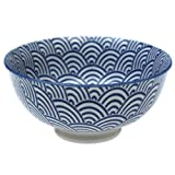 Japanese Style Blossom Bowl - Choice Of Design ( Navy Waves )