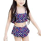 ZongSen Mädchen Bikini Niedliche Kinderbadebekleidung Trennt Badeanzug Dunkelblau XS