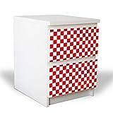 banjado YOURDEA Möbelfolie für IKEA Malm Kommode mit 2 Schubladen/Dekorfolie 2-teilig ca. 40x55cm / Möbelaufkleber Selbstklebend mit Motiv Karo Rot