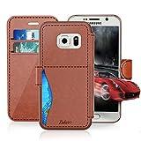 Samsung Galaxy S6 Leder Hülle, TAKEN [Stoßfest][Wasserdicht] Kreditkartensteckplatzes - Ultra Dünn Handy Hülle, Flip Hülle, für Samsung Galaxy S6 - Braun - für Damen / Frauen / Jungs / Mädchen