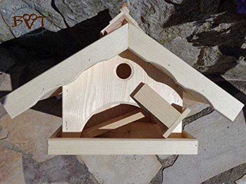 Vogelhaus XXL,MIT Nistkasten,K-VONI5-LOTUS-LEFA-dbraun002,groß,wetterfest,PREMIUM-Qualität,Vogelhaus,mit wasserabweisender LOTUS-BESCHICHTUNG VOGELFUTTERHAUS + Nistkasten 100% KOMBI MIT NISTHILFE für Vögel WETTERFEST, QUALITÄTS-SCHREINERARBEIT-aus 100% Vollholz, Holz Futterhaus für Vögel, MIT FUTTERSCHACHT Futtervorrat, Vogelfutter-Station Farbe braun dunkelbraun schokobraun rustikal klassisch, Ausführung Naturholz MIT TIEFEM WETTERSCHUTZ-DACH für trockenes Futter - 4